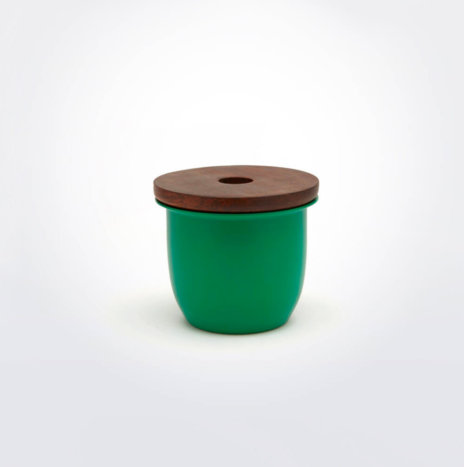 GREEN METAL & WOODEN CONTAINER