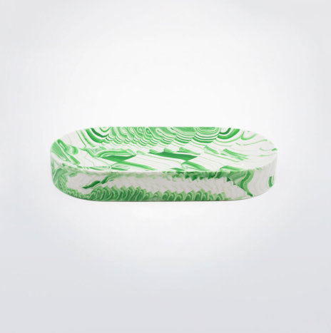Green & White Water Marble Oval Tray