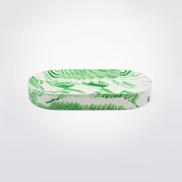 Green white water marble oval tray.
