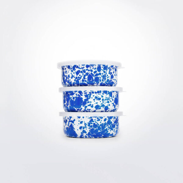 Blue & white enamelware storage set gray background.