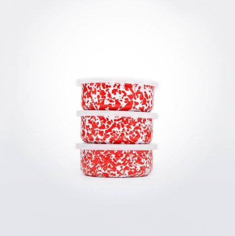 RED & WHITE ENAMELWARE STORAGE SET