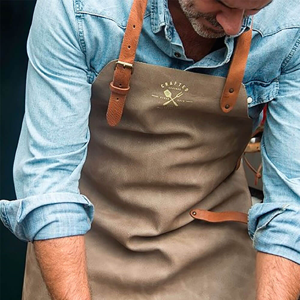 VINTAGE LEATHER APRON GRAY