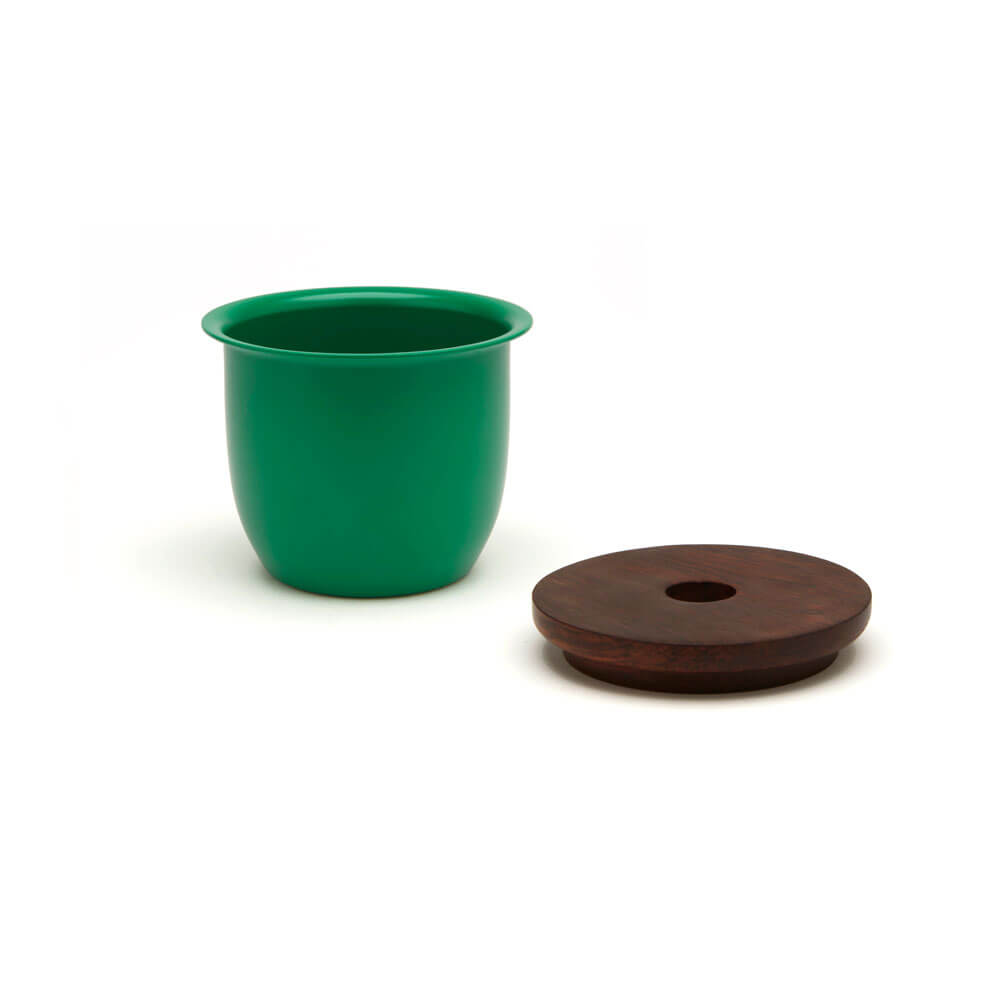 GREEN METAL AND WOODEN CONTAINER