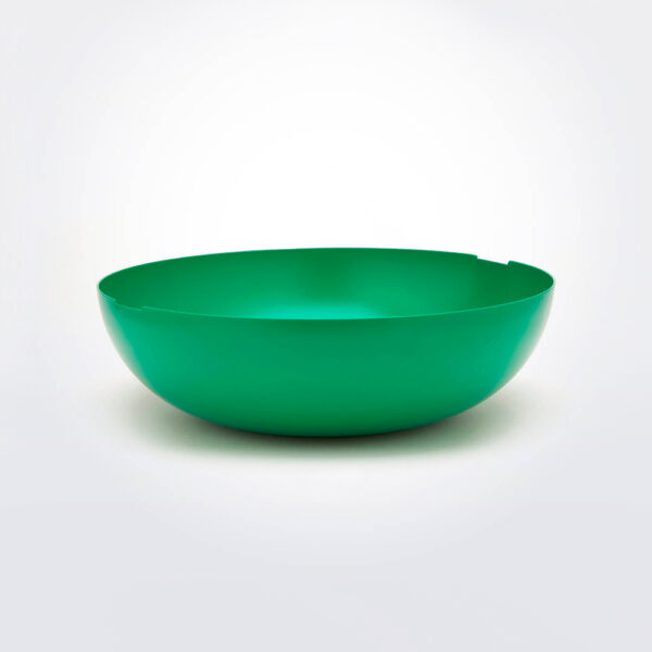 Green metal bowl product picture.