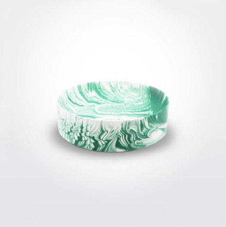 Green and White Water Marble Bowl