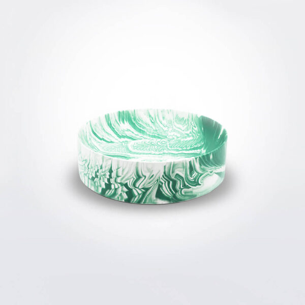 Green and white water marble bowl.