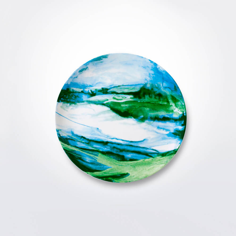 GREEN & WHITE WATER MARBLE CHARGER PLATE