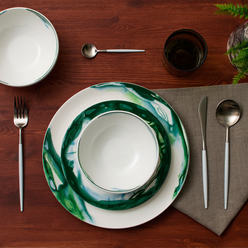 GREEN & WHITE WATER MARBLE DINNER PLATE (2)
