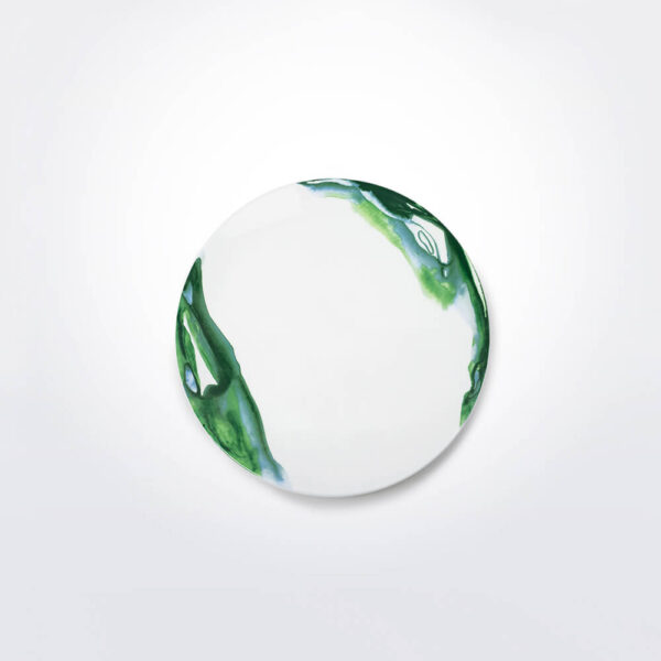 Green & white water marble dinner plate product photo.