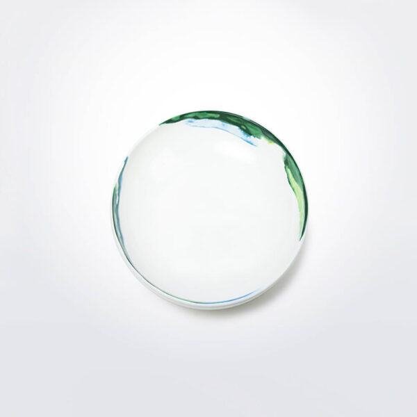 Green & white water marble pasta bowl product detail.