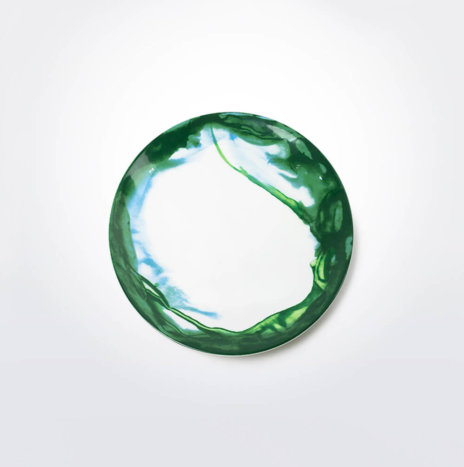 Green & White Water Marble Salad Plate