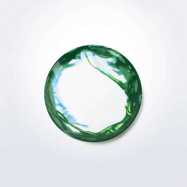 Green & white water marble salad plate product photo.