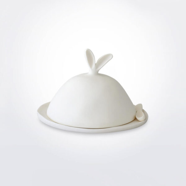Easter cheese spreader with dome set grey background.
