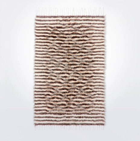 Striped Natural & Gray Wool Rug