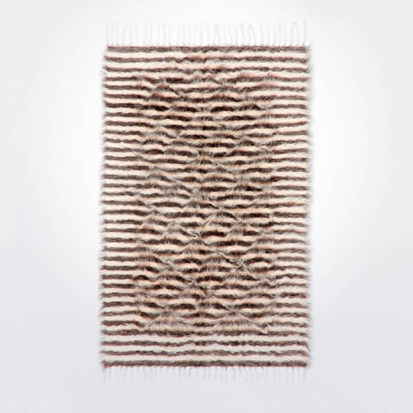 Natural and gray striped wool rug product picture.