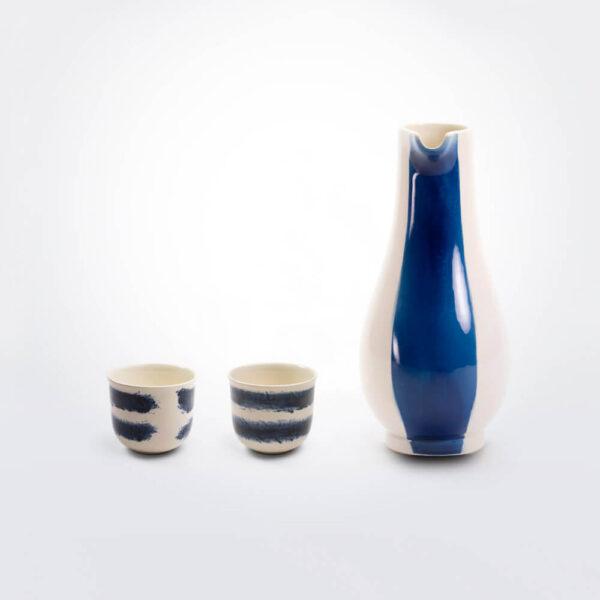 Indigo earthenware jug set complete pieces.