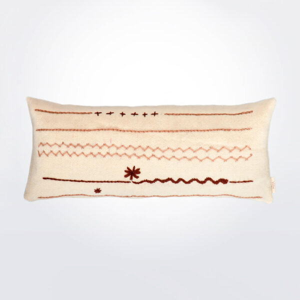 Natural & brown lumbar wool pillow cover.
