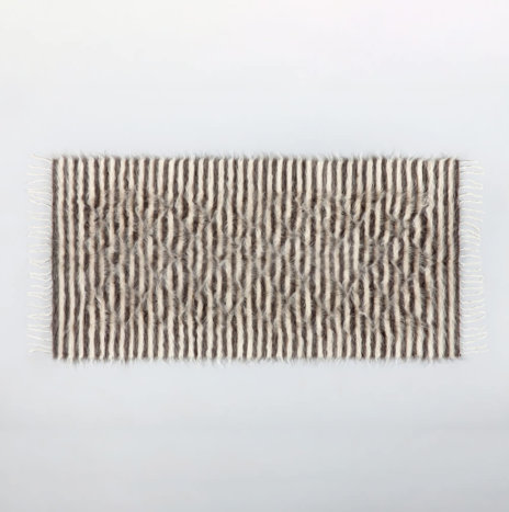 NATURAL & GRAY STRIPED WOOL RUG