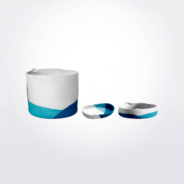 Ocean blue bucket tray set gray background.