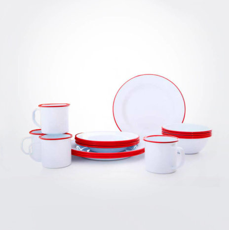 RED & WHITE ENAMELWARE DINNERWARE SET