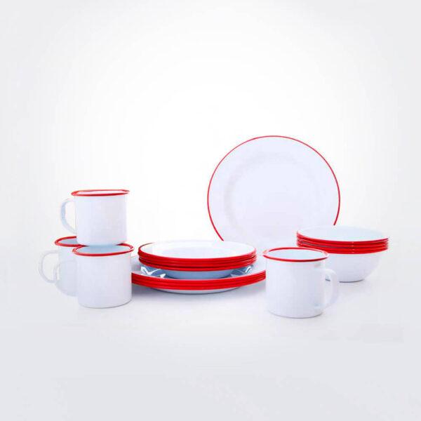 Red & white enamel dinnerware set gray background.