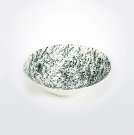 White & Black Water Marble Serving Bowl