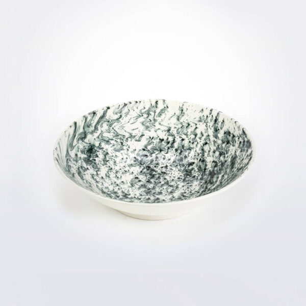 White & black water marble serving bowl details.
