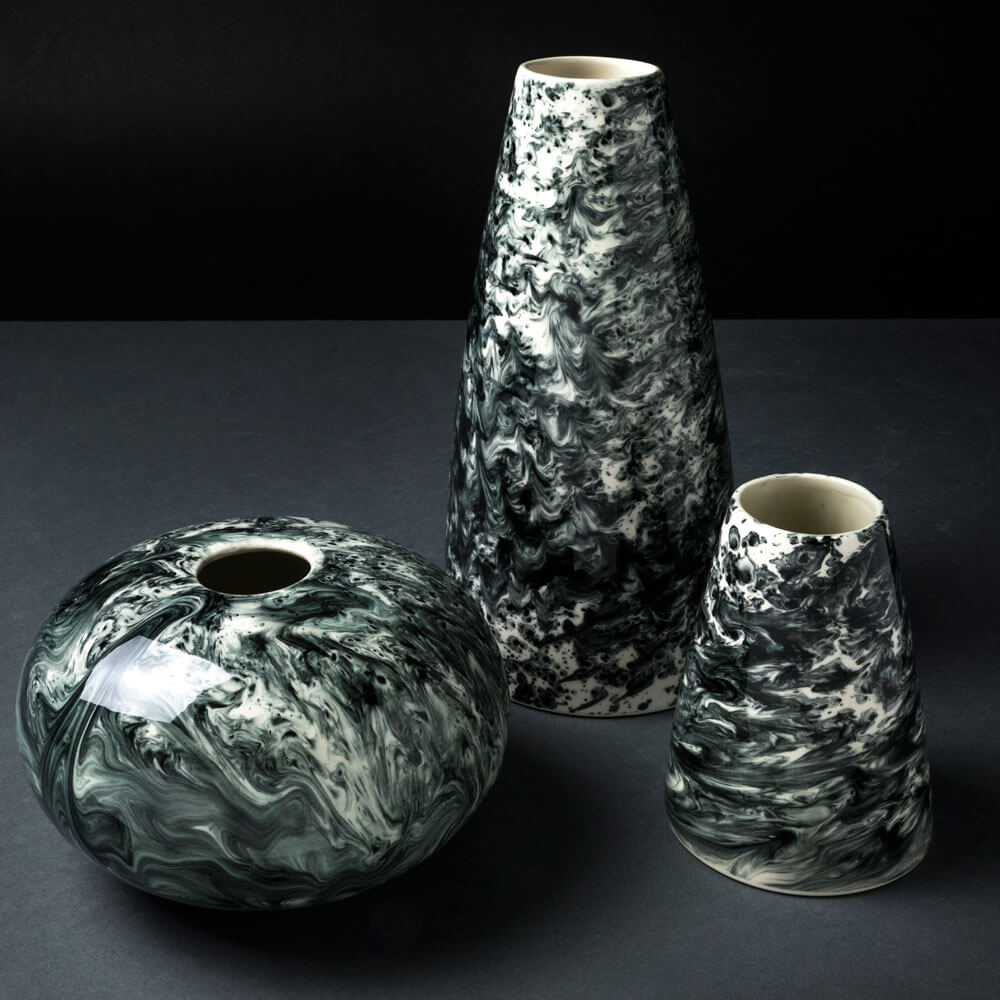 WHITE & BLACK WATER MARBLE VASE (Tall) (2)