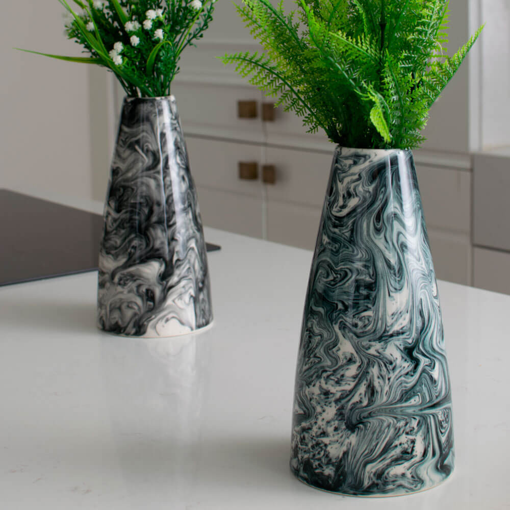 WHITE & BLACK WATER MARBLE VASE (Tall) (3)