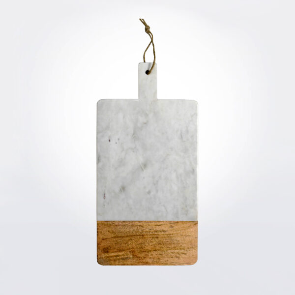 White marble and wood board product picture.