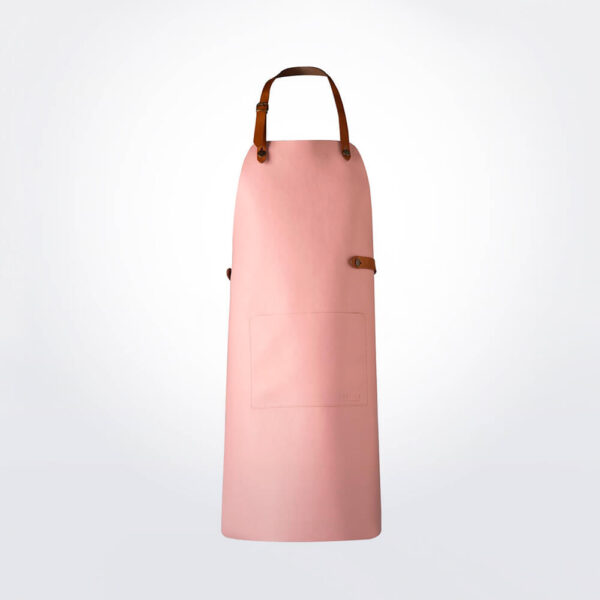 Pink leather apron product photo.