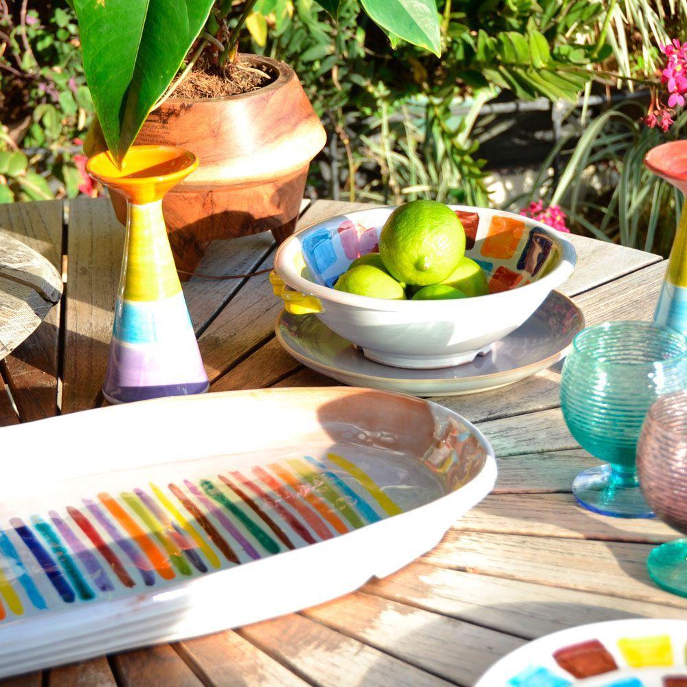 Multicolor Ceramic Candle Holder Set II