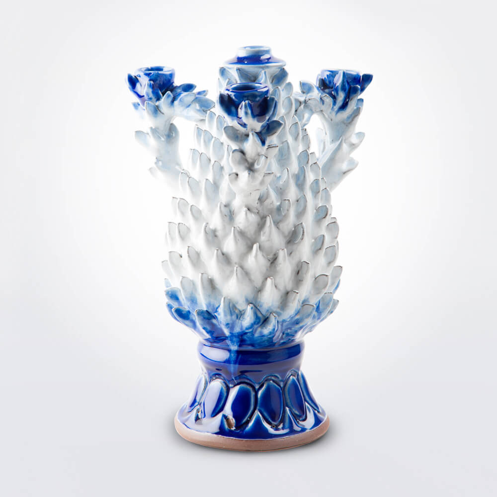 Blue-and-white-pineapple–candle-holder