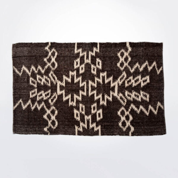 Mayan dark brown wool rug product picture.