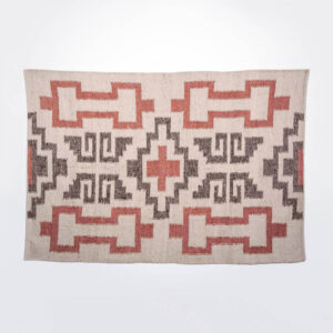 Mayan gray and pink wool rug picture.
