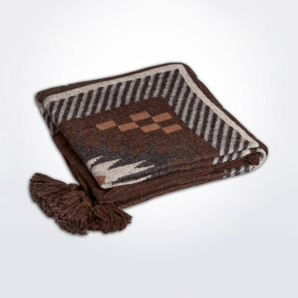 Brown alpaca throw gray background.