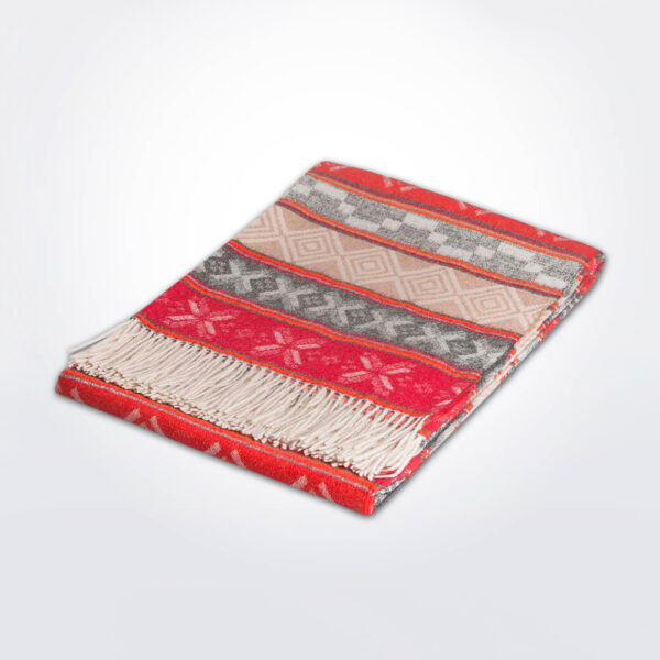 Geo ethnic alpaca throw gray background.