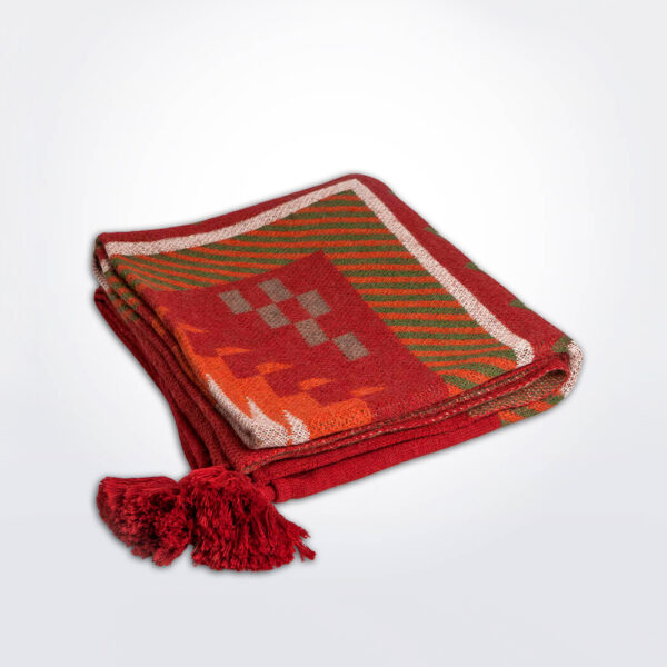 Ethnic pattern alpaca throw gray background.