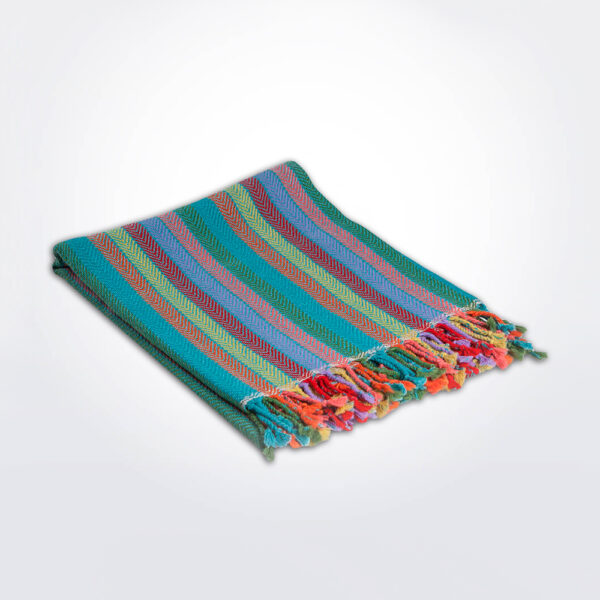 Blue striped alpaca throw gray background.
