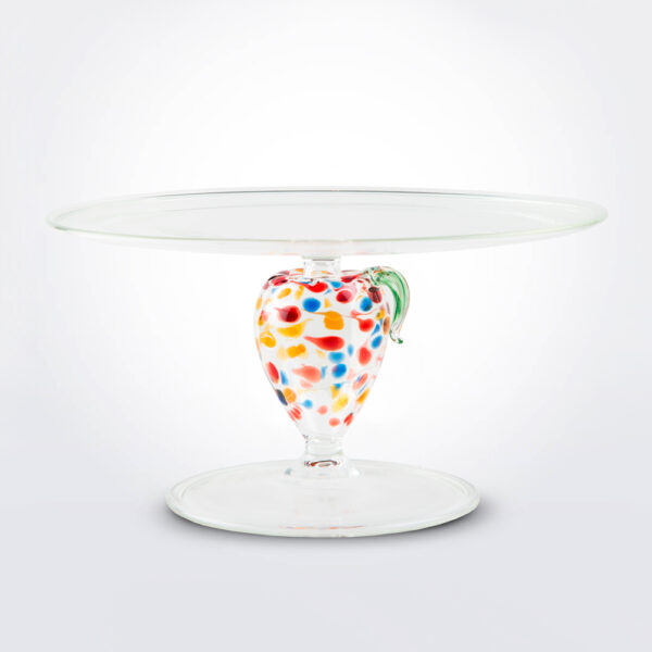 Apple glass cake stand product picture.