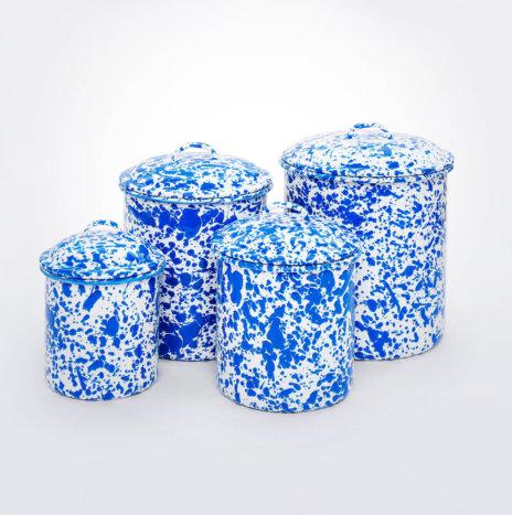Blue Splatter Canister Set