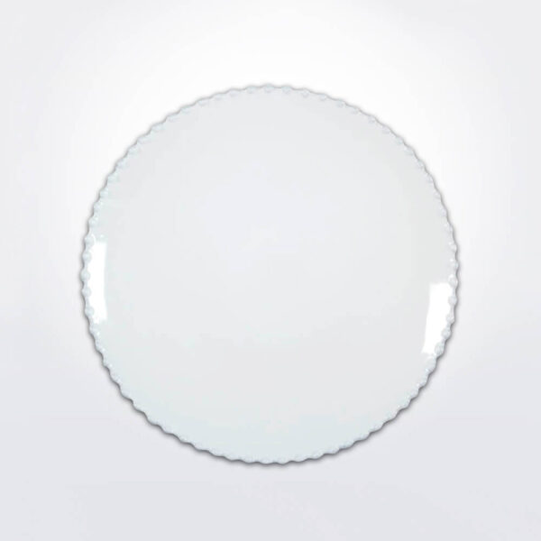 Costa nova pearl dinner plate set gray background.