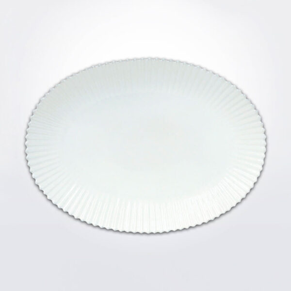 Costa nova pearl oval platter with gray background.