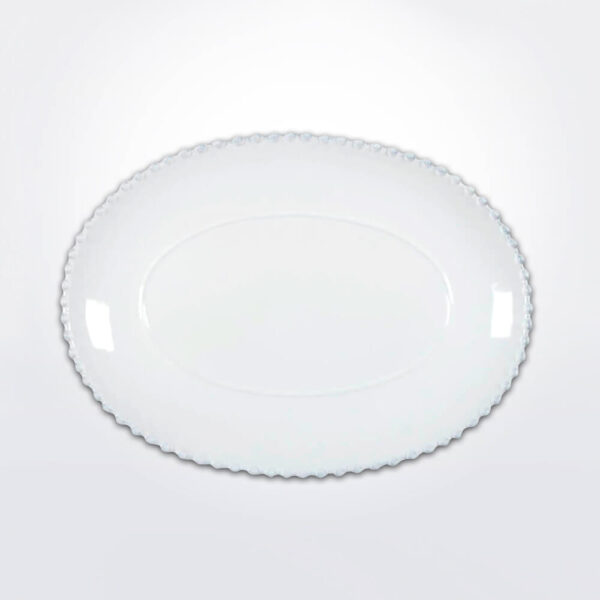 Costa nova pearl large oval platter with gray background.