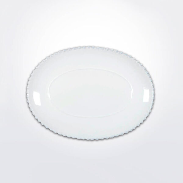 Costa nova pearl oval platter medium gray background.