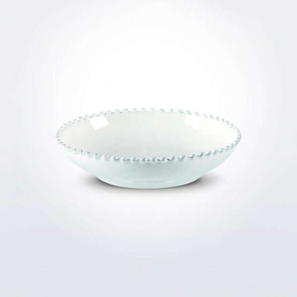 Costa nova pearl pasta plate set gray background.