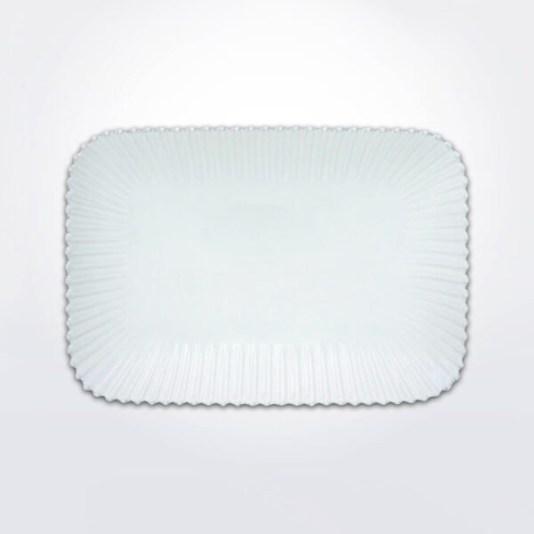 Costa nova pearl rectangular platter with gray background.