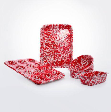 Children's Red Enamel Baking Set