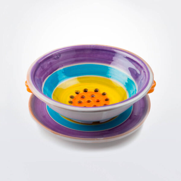Colorful colander and tray set product picture.
