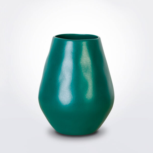 Green bulb vase product photo.